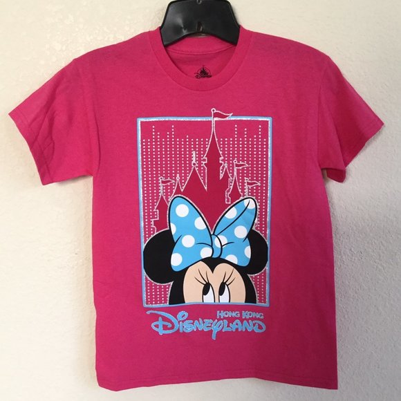 Authentic Disney Parks Minnie Mouse Shirt Gray Pink Youth XL New With Tags